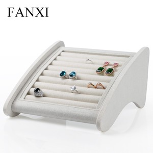 FANXI creamy white color linen jewelry display jewelry display rack for counter ring/earring/ear stud stand