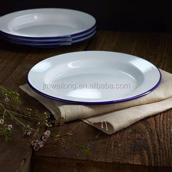 Antique Vintage White Enamel Metal Tray Dinner Dish Plates With Blue Rim