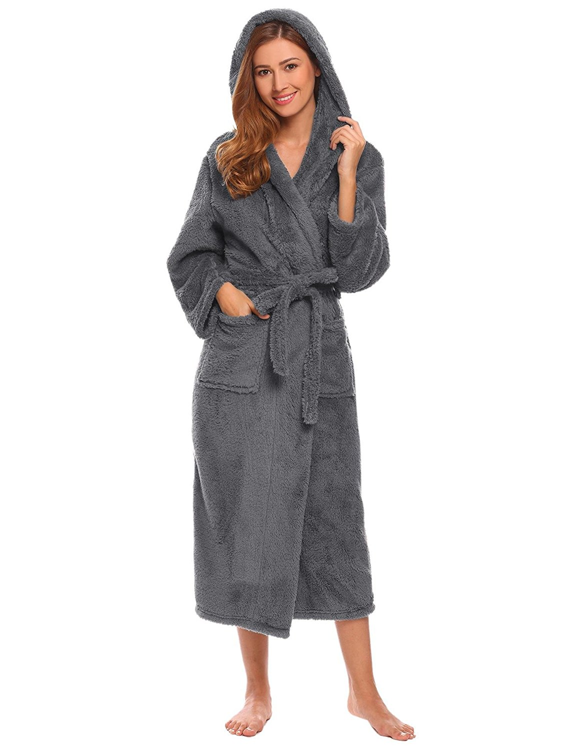 70cc96b5b0 Dickin Women Fleece Robes Hooded Belted Plush Robes Long Spa Bathrobes With  Pockets and Belt