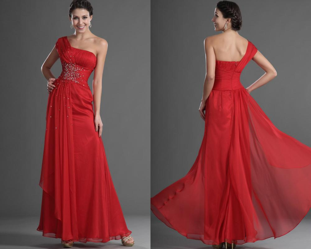 Lady Angel Free Shipping Short Beige Chiffon Bridesmaid: Red Crystal One Shoulder Wedding Guest Dress Long Party