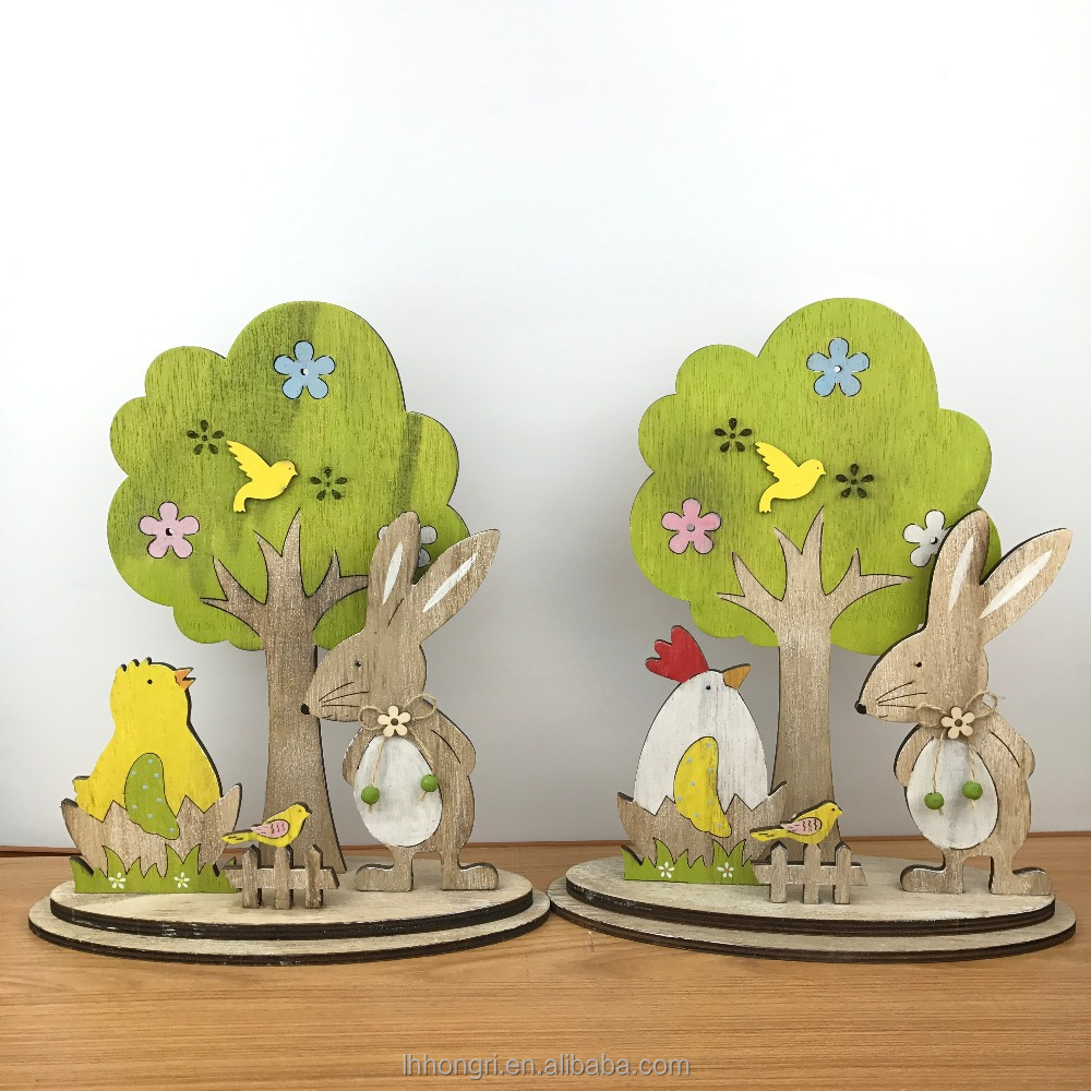 bunny easter wooden rabbit decoration tree