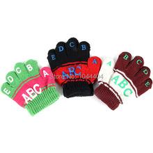 Children Kids Toddlers Letter Print Full Finger Winter Gloves Mittens Boys Girls Free Shipping