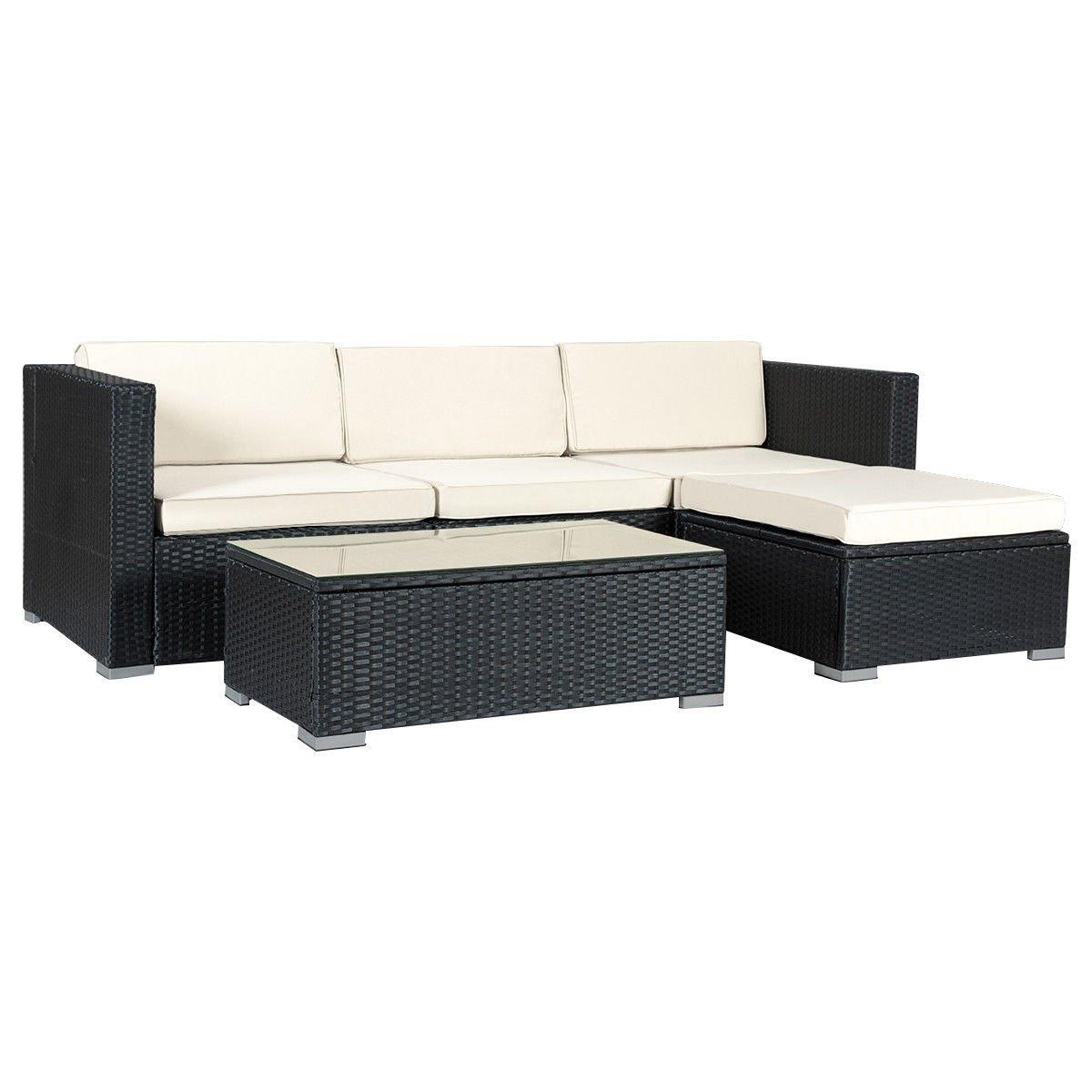Get Quotations 5pcs Black Rattan Table Furniture Set Armless Chair W 2 Corner Sofa Footstool