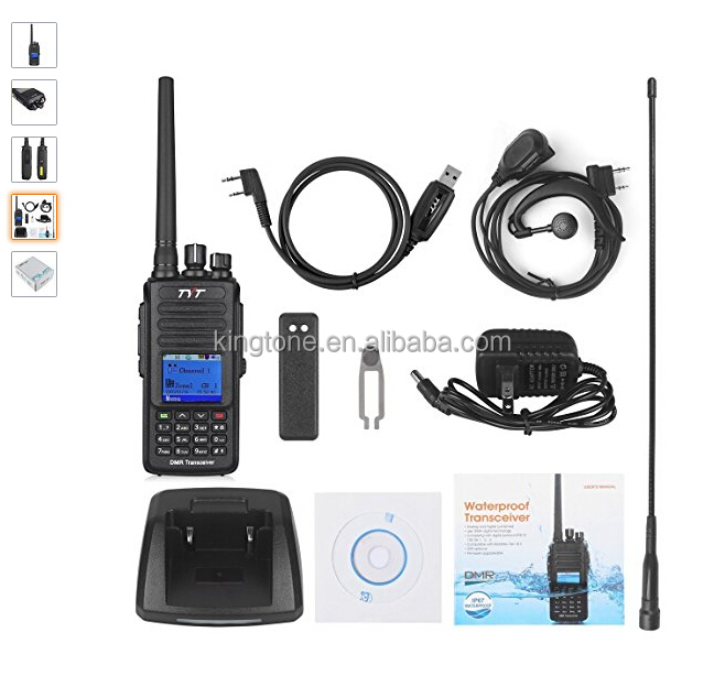 TYT newest dmr walkie talkie MD-390 GPS optional IP67 waterproof+1pc earphone+1pc program cable