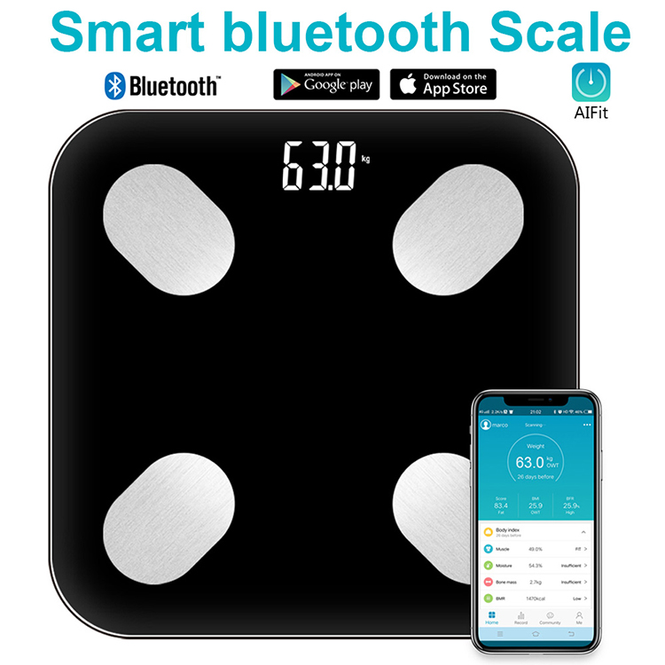 Tuya Smart Life Bluetooth Digital Elektronik LED Display Tubuh Lemak BMI Hot Skala