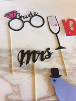 11 piece Party Masks Photo Booth Props On A Stick Wedding Bachelorette