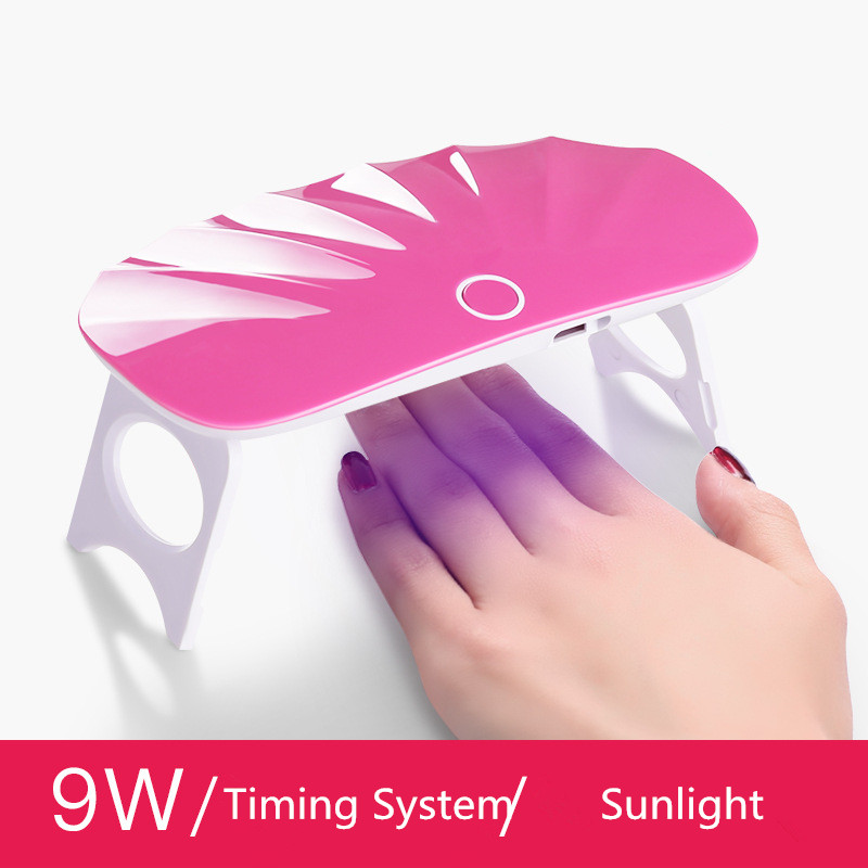 UV LED gel polish drying curing foldable durable dual light source timing system professional led nail dryer 9w lamp