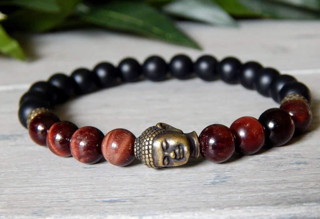 Mens Mulit-Gemstone Buddha Bracelet Red Tiger Eye Matte Black Onyx Yoga Meditation Mala Buddhist