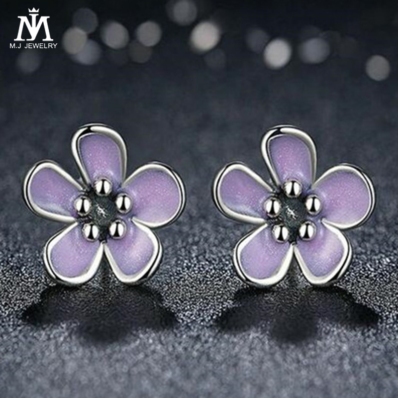 MJ Romantic 925 Sterling Silver Cherry Blossom Stud Earrings Purple Enamel Earrings for Women Fine Jewelry
