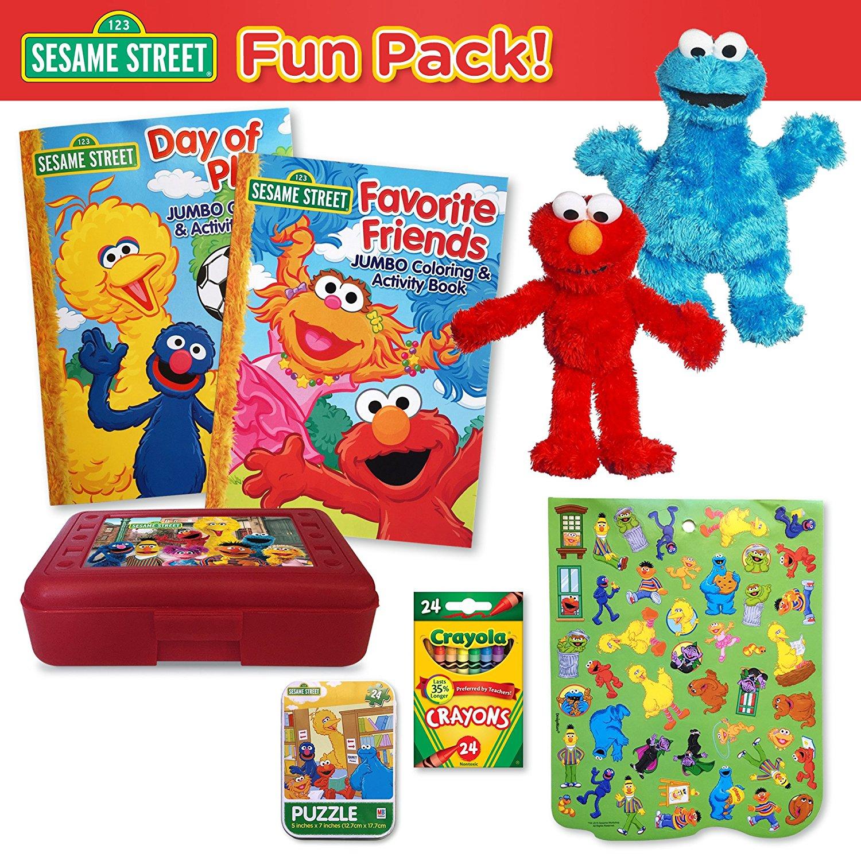 Sesame Street Fun Pack - 9 Elmo and Cookie Monster Plushes, 2 Sesame Street Coloring Books, 24 Ct. Crayola Crayons, Sesame Street Crayon Box, Puzzle Tin, Sticker Sheet (8 Pc. Set)
