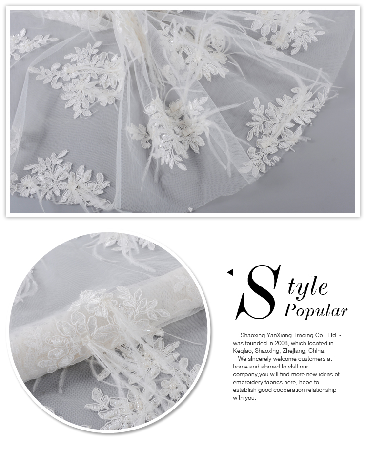 High quality french 3d handwork feather beaded bridal lace tulle lace fabric