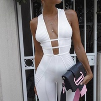 European style sexy backless deep v neck jumpsuit 2019 latest women sleeveless jumpsuit with long skinny pants