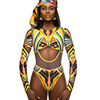 2019 Custom Factory Design African And Indian Print Sexy High Cut Leg One Piece Swimsuit For Women