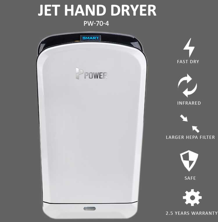 POWER public wash basin eco air auto fast profession advertisement hand dryer no battery operated with led for toilet