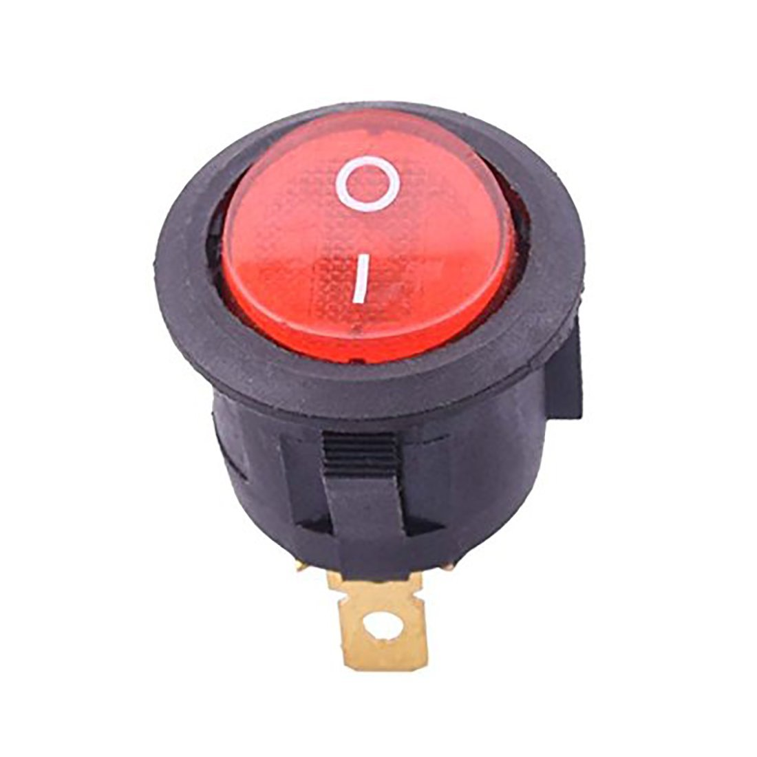 Flyshop 5 pcs Red Round Button 2 Pin SPST On/Off Rocker Switch AC 125V/10A 250V/6A