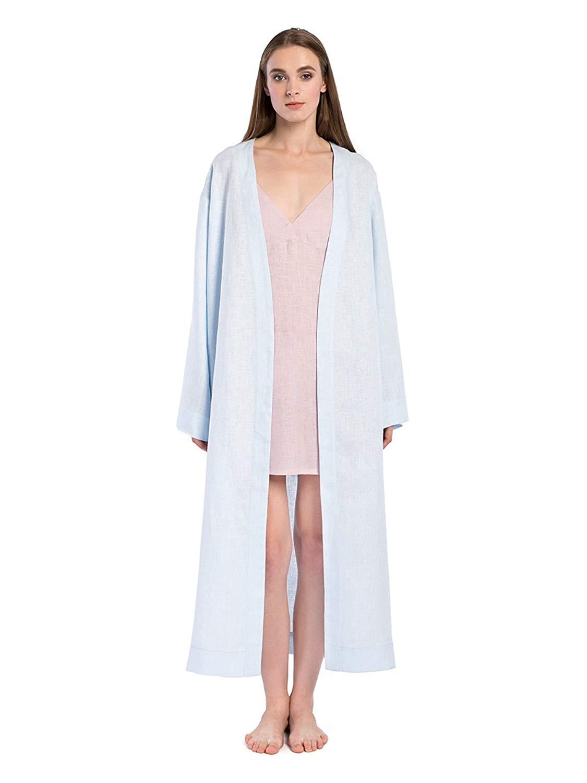 Get Quotations · ETNODIM Bathrobe For Women Linen Blue Long Robe Spa Robe  Natural barthrobe da2ae017c