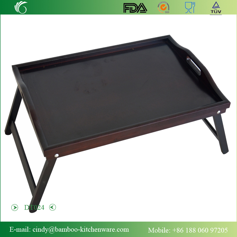 DT024 Bamboo/Wooden Black Breakfast Food Serving Tray on the Bed or Outside