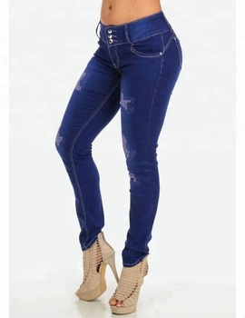 6615219f3 Royal wolf denim jeans manufacturer royal blue ripped sew high waisted butt  lift straight colombian jeans