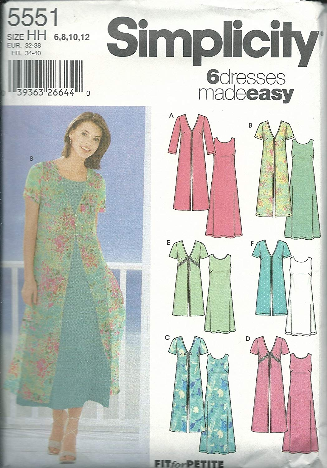 26208175fb Get Quotations · Simplicity Sewing Pattern 5551 Misses Size 6-8-10-12 Easy  Sleeveless A