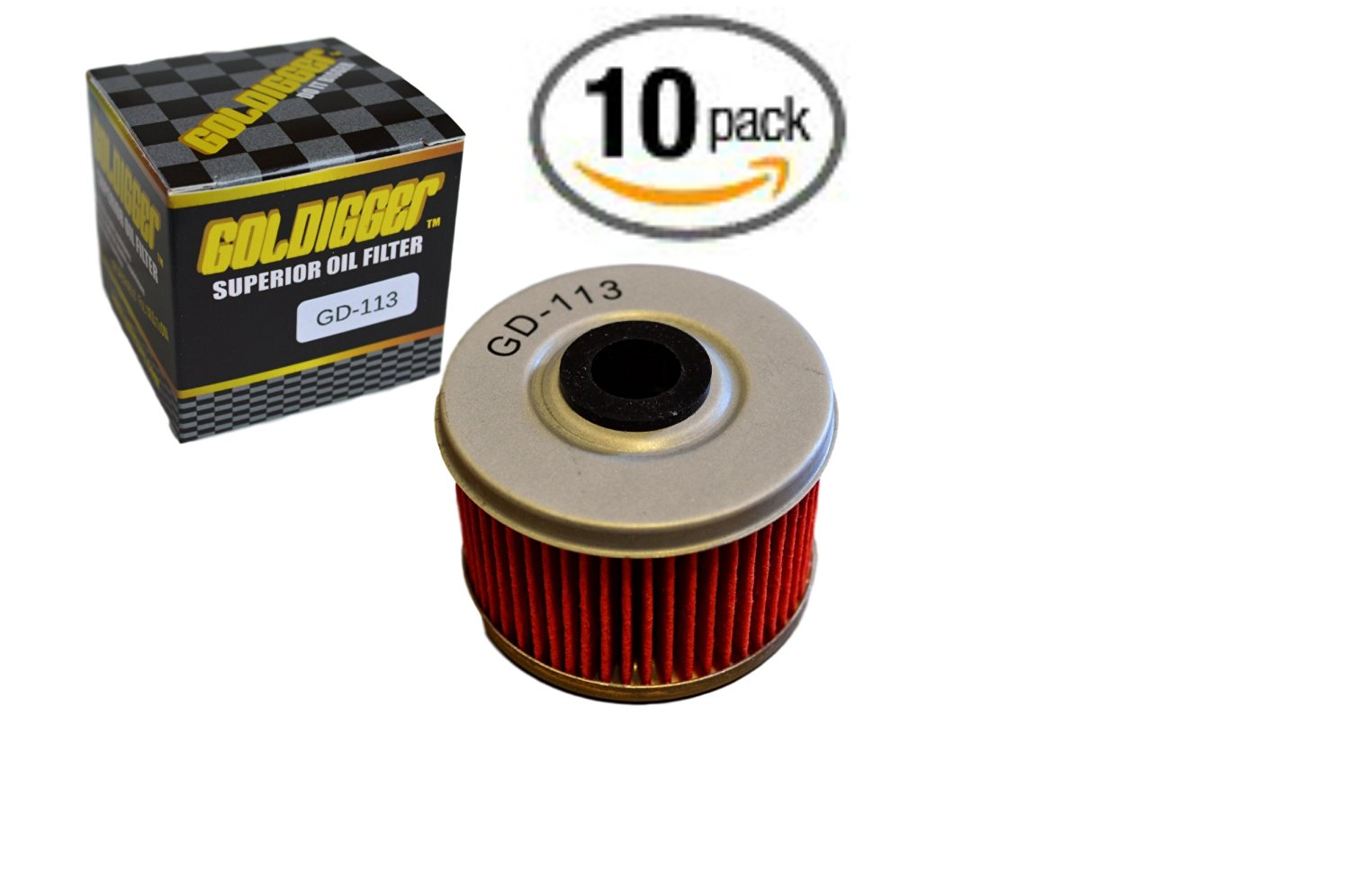 GOLDIGGER After Market HF113 & KN-113 Replacement Oil Filter Motorcycle/Dirt Bike/ATV Fit Honda TRX350 TRX400 FOREMAN RUBICON FOREMAN EX CB400 ATC250ES TRX500 (10 Pack)