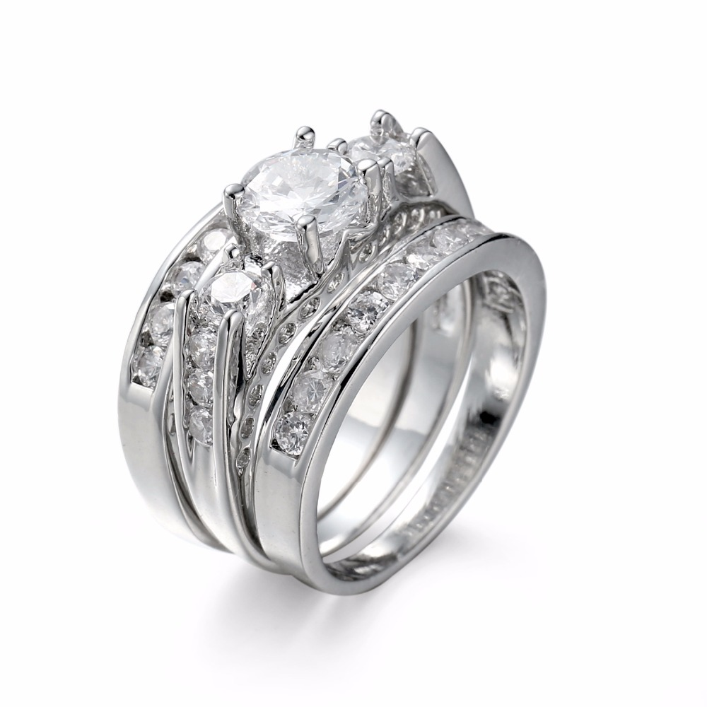 Delicate 3 Pcs 925 Silver Plated Ring Set Round Cut Natural Cubic Zirconia Wedding Diamond Couple Rings