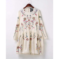 monroo 2017 spring and summer Europe and the United States fashion cotton embroidery round neck long sleeve doll dress
