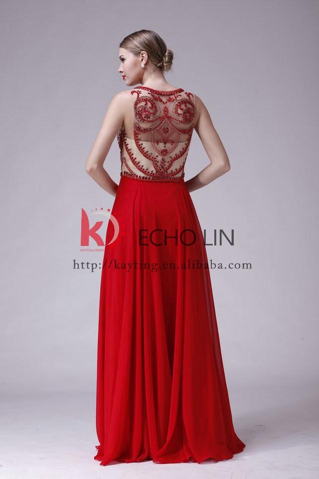 b1d82bfdc3da3 Yeni akşam elbise kırmızı handmake kristal throug görmek son kırmızı uzun  kolsuz şifon elbise modelleri