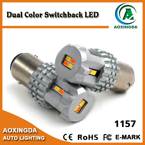 High quality 9~18V auto 1157 switchback led dual color turn signal and parking light bulb