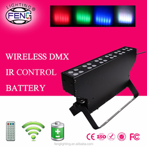 24*1w wireless DMX slim wall washer battery powered led light IR control bar uplight