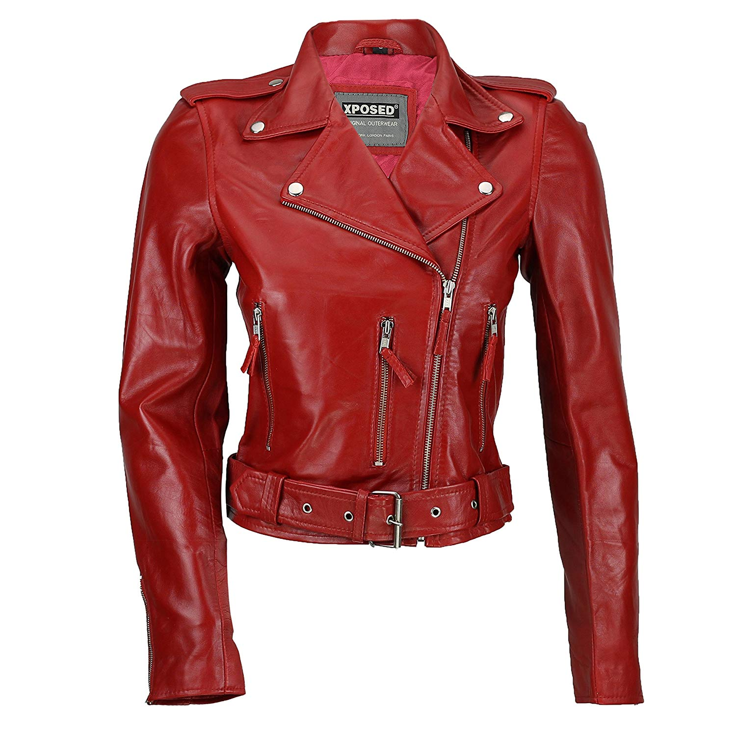 XPOSED Ladies Womens 100% Real Soft Leather Fitted Short Retro Rock Biker Jacket Black Red