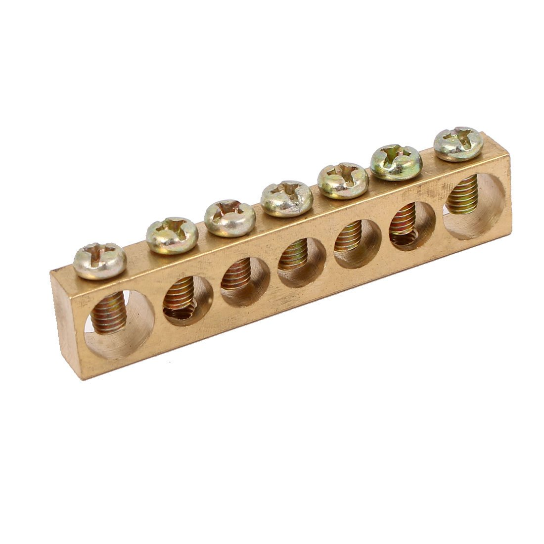uxcell 7 Positions Electric Wire Line Screw Terminal Ground Copper Neutral Bar Stick