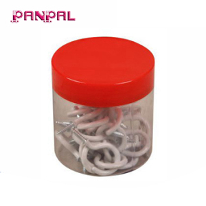 Low price 35pcs white PVC 3/4 Inch steel round screw cup hooks