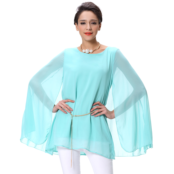 Mode Damen Chiffon Cape Shirt Frauen Bluse und Tops