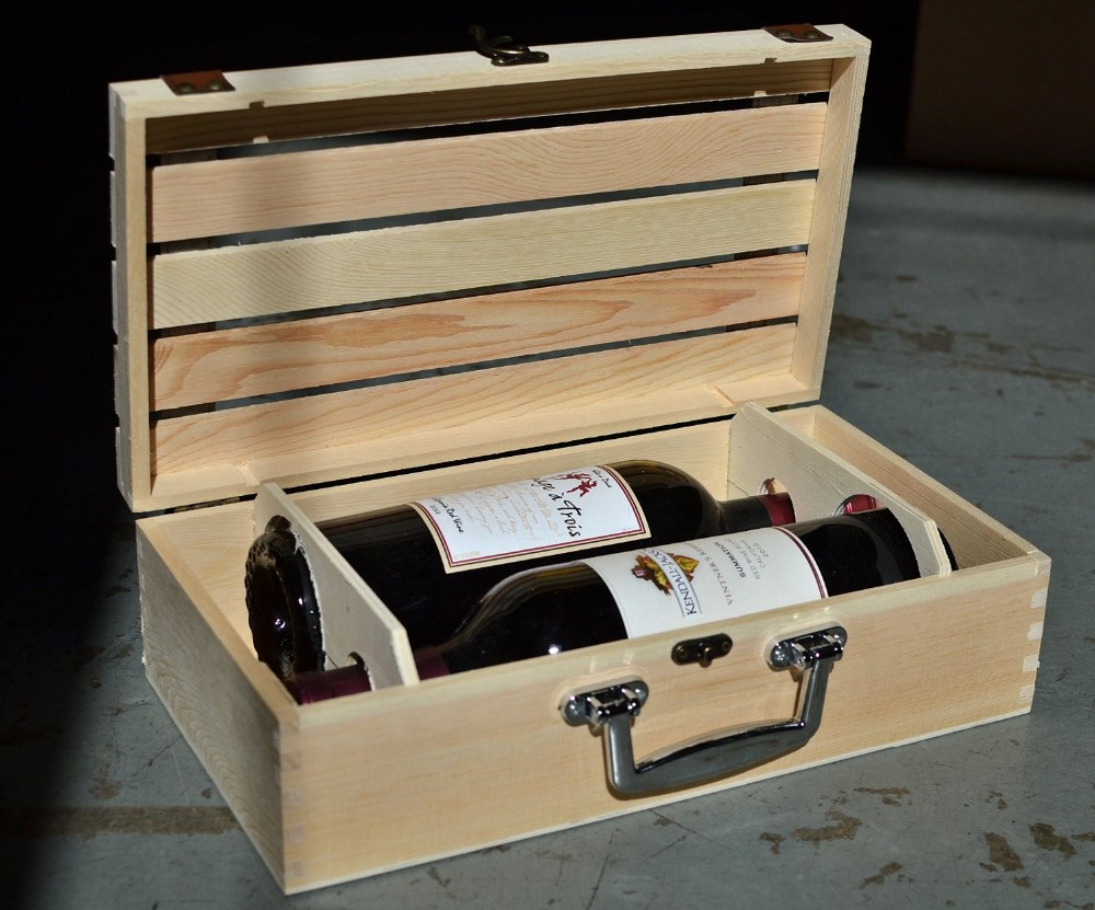 Handmade vineyard design natural pine wood crate 2 wine for Where can i find old wine crates