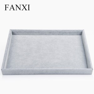 FANXI Functional Silver Grey Jewelry Flat Tray Necklace Earrings Ring Bracelet Holder Case Ice Velvet Jewelry Display Tray
