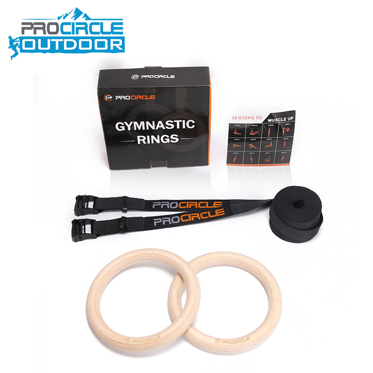 Chinese Supplier Fitness Wooden Gymnastic Rings For Sale