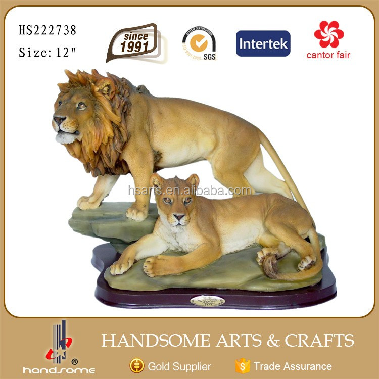 12.5 Inch Resin Home Decor Lifelike Animal Pair Lion Statues