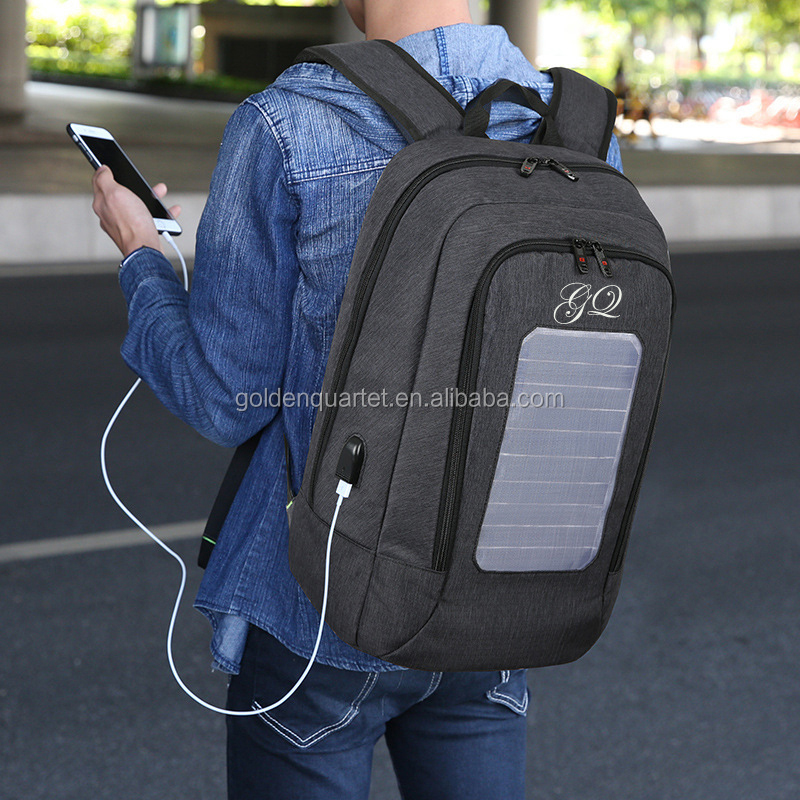 High quality Custom solar Backpack Bag With USB Charger outdoor hiking camping solar charging backpack laptop backpack