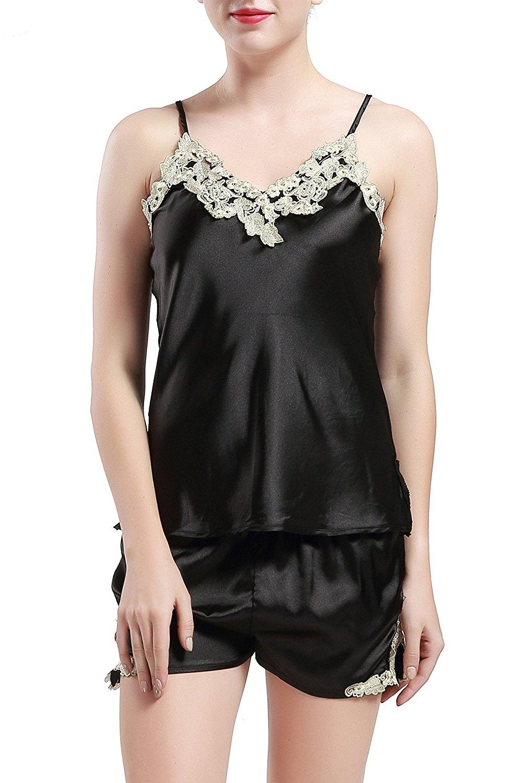 881c7e7c4dd Get Quotations · BABEYOND Silk Satin Sleepwear Shorts Set Ladies Nightwear  Pyjama Cami Shorts Set