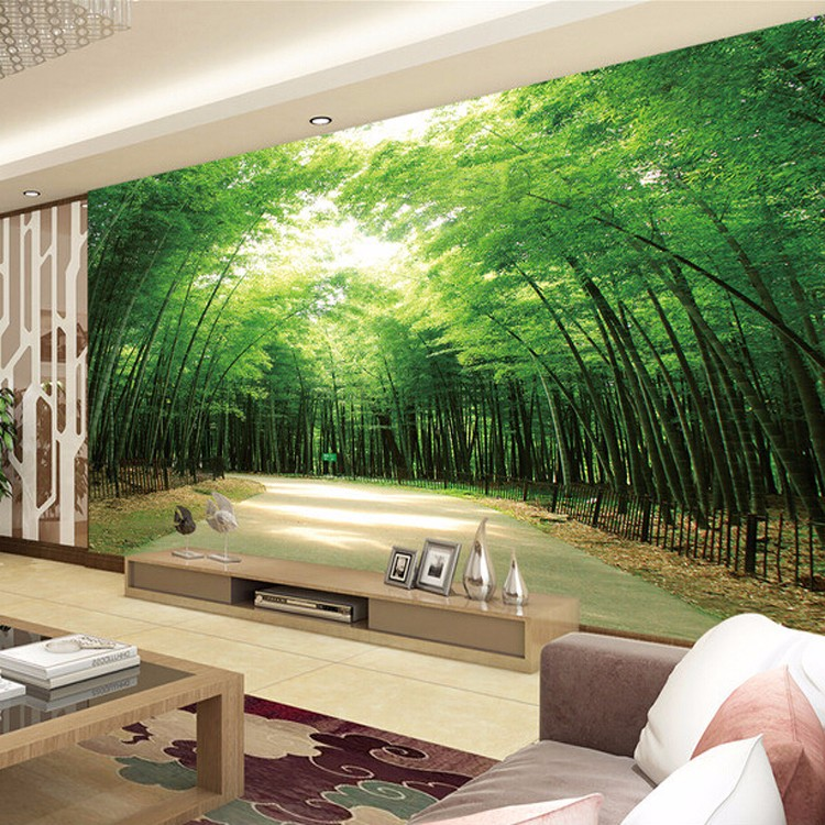 Calming yourself on the bamboo forest road theme mural 3d for Bamboo forest wall mural