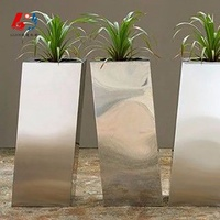 Polished irregular stainless steel outdoor big tall flower plant planter pots