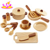 2017 Wholesale new arrival Wooden Education Role Play Set Wooden Kitchenware Cooking Toy W10B127