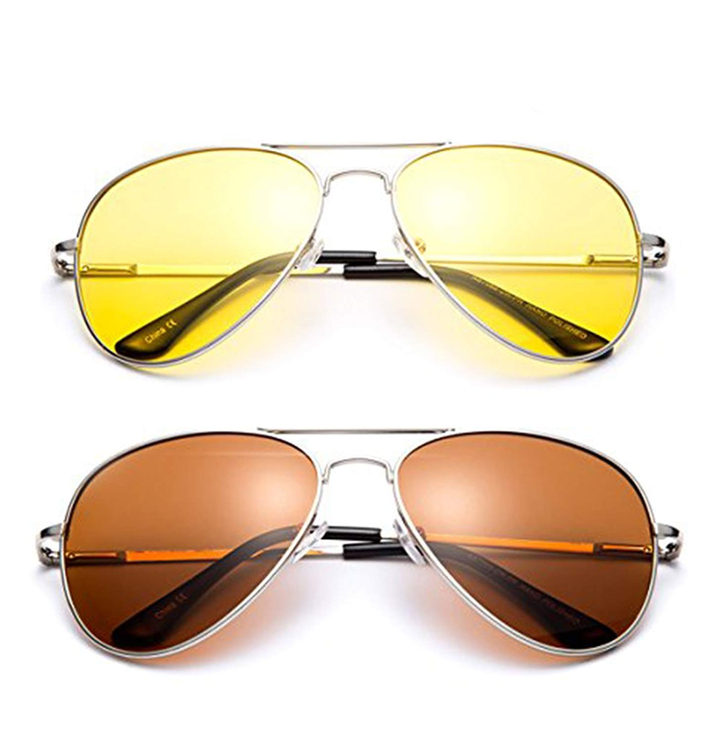 cb6a70cf0b9f Get Quotations · Polarized Night Vision Driving Glasses Yellow Amber Lens &  Day Time Drving Sunglasses Copper Lens-