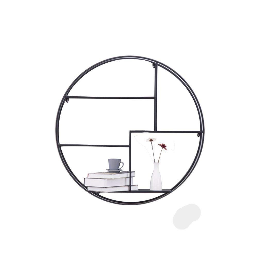 LQQGXL Storage and organization Shelf Urban Trend Metal Round Frame with Frame Design Wall Frame Hexagon Frame Partition Creative Grid Frame 82x82cm (Color : Round)