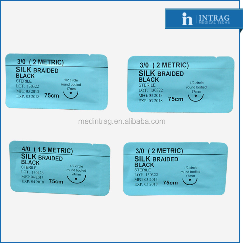 Non Absorbable Surgical Silk Braided Suture USP 3/0#