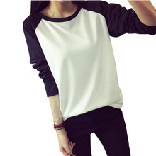 2015 Fall Korean Style Women T-shirt Sweatshirt Raglan Long Sleeve Patchwork Loose Moleton Tee Tops Femininos Plus Size M-XXL