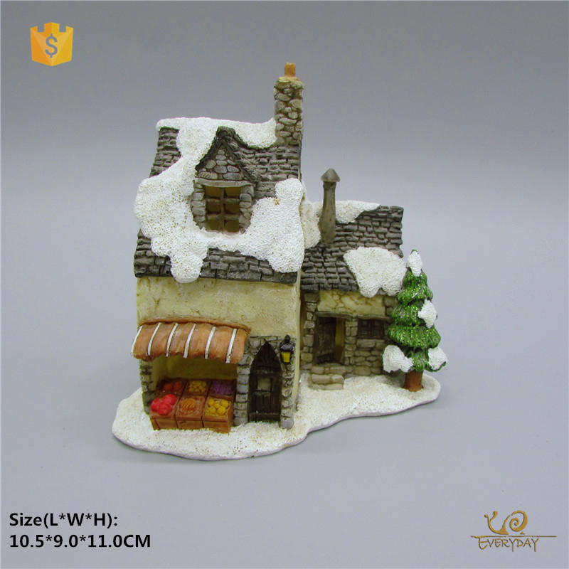ED12504A Polyresin Personalized Christmas Ornaments Resin Custom Christmas Village Houses Miniature