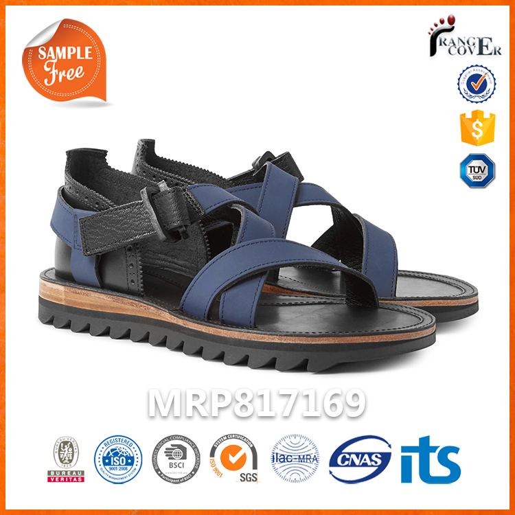 Navy Nubuck Black Leather 2016 Brand Men Italian Mens Leather Sandals