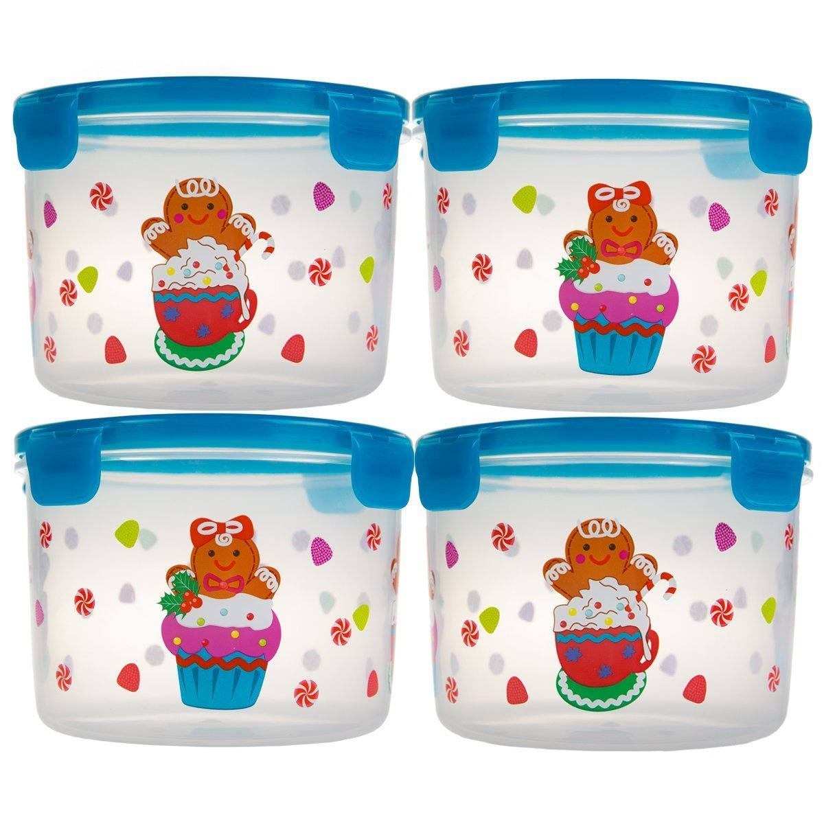 Get Quotations · 8pc Lock U0026 Lock Holiday Plastic Food Storage Containers  With Lids Set In Christmas Gingerbread Cookie