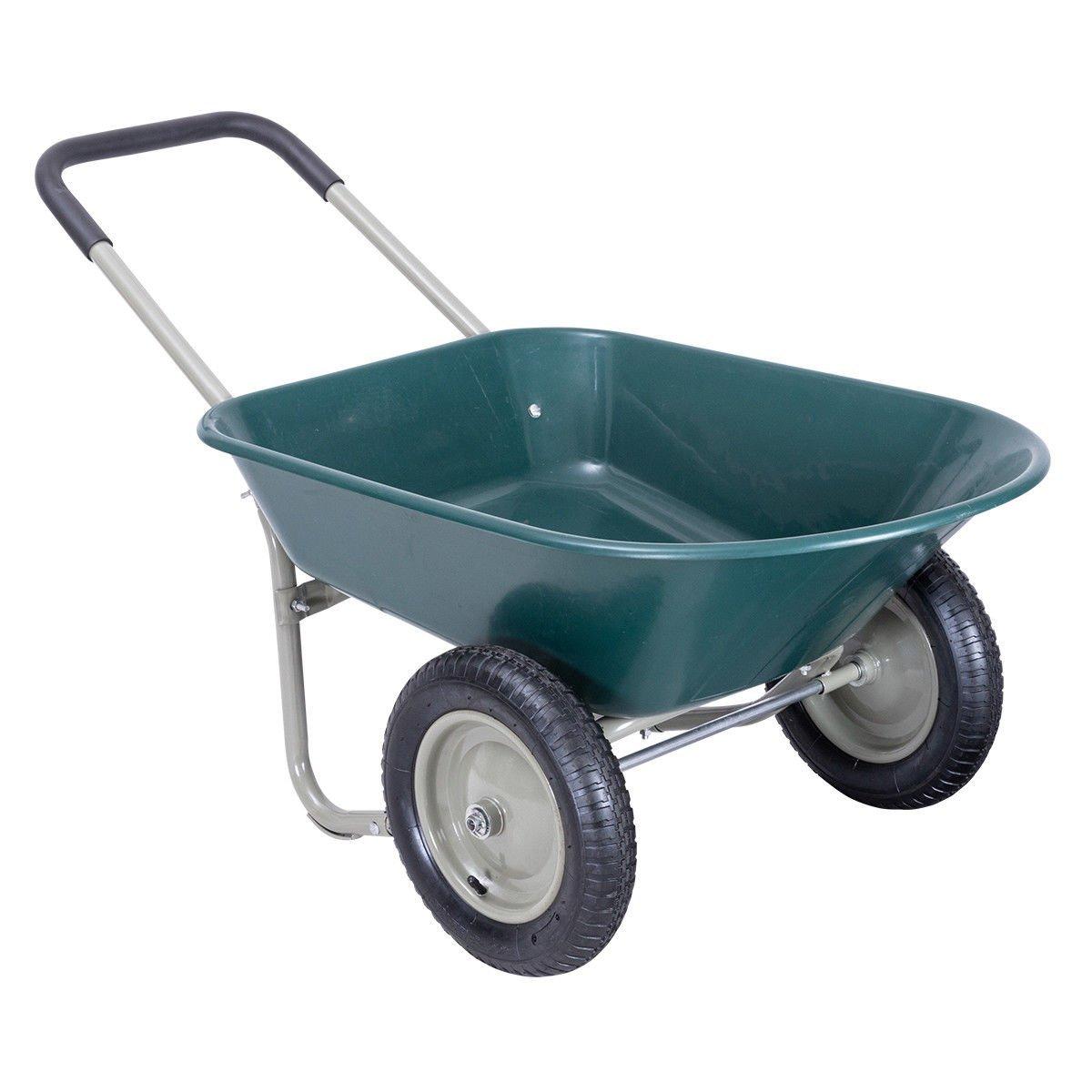 """330 Lbs Dark Green Steel Garden Cart Wheelbarrow w/ 13"""" Rubber Wheels"""